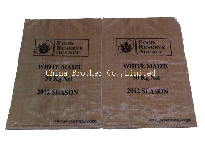 Large Woven Polypropylene Bags Durable , Block Bottom Bopp Laminated Woven Sacks